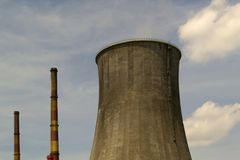 Chimneys of a nuclear power plant Stock Images