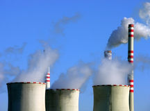 Chimneys of nuclear power station. In europe Royalty Free Stock Photo
