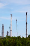 Chimneys of Oil and Gas Refinery Plant Royalty Free Stock Image