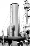Chimneys of the old armored cruiser. Stock Photo