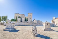 Chimneys On The Floor And Castle In Ampudia Royalty Free Stock Photos