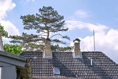 Chimneys over the roofs of Arnis, the smallest town of Germany royalty free stock photography