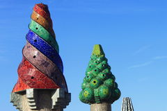 Chimneys at Palau Guell Royalty Free Stock Photo