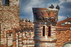 Clay roofs of traditional Italian old town royalty free stock images
