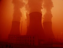 Chimneys of power station Royalty Free Stock Images