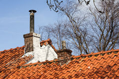 Chimneys on a red roof Royalty Free Stock Image