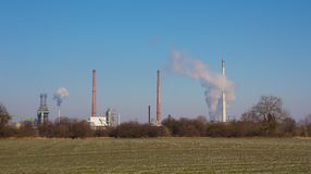 Chimneys of a refinery Royalty Free Stock Photo
