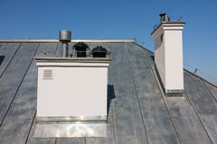 Chimneys on the roof Royalty Free Stock Image