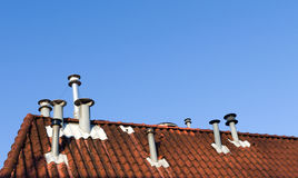 Chimneys on roof Royalty Free Stock Photography