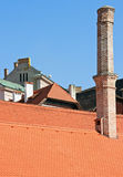 Chimneys and roofs. In medieval  Cesky Krumlov, Czech republic Stock Images
