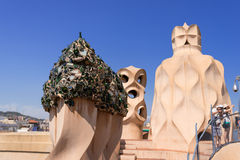 Chimneys on rooftop of Casa Mila at Barcelona Stock Images