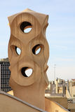Chimneys shaped anthropomorphic soldiers on the terrace of the Casa Mila or La Pedrera building. BARCELONA, CATALONIA, SPAIN Royalty Free Stock Photography