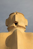 Chimneys shaped anthropomorphic soldiers on the terrace of the Casa Mila or La Pedrera building. BARCELONA, CATALONIA, SPAIN Royalty Free Stock Photos