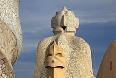 Chimneys shaped anthropomorphic soldiers on the terrace of the Casa Mila or La Pedrera building. BARCELONA, CATALONIA, SPAIN Royalty Free Stock Image