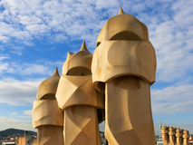Chimneys on top of Casa Mila, Barcelona Stock Photos