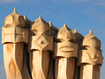 Chimneys on top of Casa Mila, Barcelona Royalty Free Stock Photo