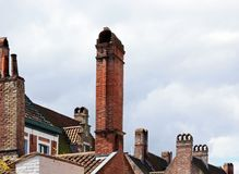 Chimneys typical of flanders Stock Photo