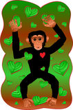 Chimp with Heart Leaves Royalty Free Stock Photography