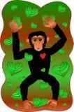 Chimpancé con las hojas del corazón Fotografía de archivo libre de regalías