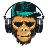Chimpancé de DJ Mono del inconformista del fan de música con los auriculares stock de ilustración