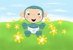 Chimpancé del bebé con las flores Imagen de archivo libre de regalías