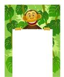 Chimpansee en leeg wit teken Royalty-vrije Stock Foto