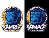 chimpansee met fietsketting in moderne dierlijke mascotte voor esportembleem en t-shirtillustratie Royalty-vrije Stock Afbeeldingen