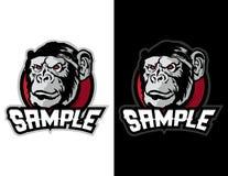 chimpansee in moderne dierlijke mascotte voor esportembleem en t-shirtillustratie Stock Afbeeldingen
