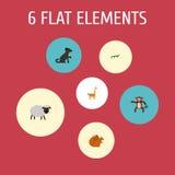 Chimpanzé plat d'icônes, tamia, chien et d'autres éléments de vecteur L'ensemble de symboles plats animaux d'icônes inclut égalem Images stock