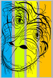 Chimpanzee. An abstract drawing of a caged chimpanzee in colored lines Stock Photos