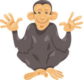 Chimpanzee ape cartoon illustration. Cartoon Illustration of Funny Chimpanzee Ape Primate Animal Stock Photo