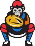 Chimpanzee Baseball Catcher Retro Royalty Free Stock Photos