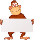 Chimpanzee with blank sign Stock Photography