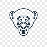 Chimpanzee concept vector linear icon isolated on transparent ba royalty free illustration