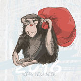 Chimpanzee drawing vector. Animal artistic drawing and bag with. Artistic drawing monkey and bag with gifts. Symbol of the Year 2016 by Chinese Horoscope Royalty Free Stock Photography