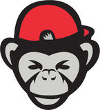 Chimpanzee Head Baseball Cap Retro Stock Image