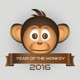 Chimpanzee little monkey head and year of the monkey eps10 Royalty Free Stock Photos
