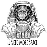 Chimpanzee Monkey Astronaut. Space suit. Hand drawn image of lion for tattoo, t-shirt, emblem, badge, logo patch stock illustration