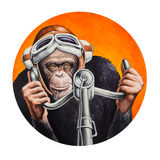 Chimpanzee pilot. At the controls of the aircraft. Watercolor illustration Stock Image