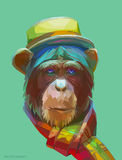 Chimpanzee polygonal illustration. Vector  eps 10 Stock Photography