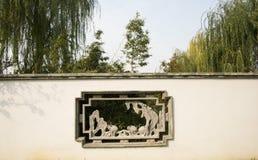 Chinês asiático, Pequim, expo do jardim, construções antigas, janela da flor, Foto de Stock
