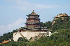 Chinês asiático, Pequim, o palácio de verão, torre do incenso budista Fotografia de Stock Royalty Free