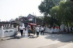 Chinês asiático, Pequim, Shichahai, ponte do ding do yin Imagem de Stock