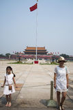 Chinês asiático, Pequim, a tribuna de Tian'anmen, o polo de bandeira nacional Fotos de Stock