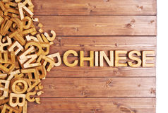 Chinês da palavra feito com letras de madeira Fotografia de Stock