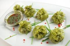 Chinês Dim Sum com sause da soja Imagem de Stock