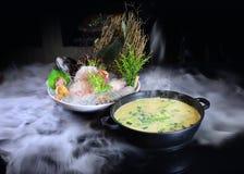 Chinês HotPot com os peixes crus congelados frios Foto de Stock Royalty Free