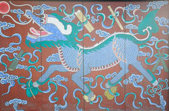 Chinês Lion Wooden Screen Imagens de Stock Royalty Free