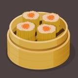 Chinês Shumai cozinhado Dim Sum com ovas dos peixes Fotografia de Stock Royalty Free