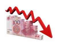 Chinês Yuan e seta vermelha ilustração stock